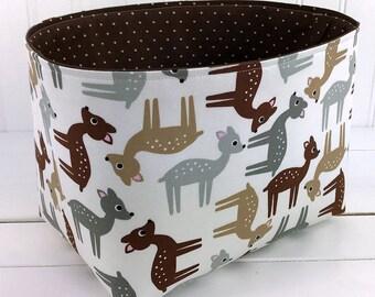 Storage Bin, Basket, Nursery Decor, Organizer, Home Decor, Container, Deer, Diaper Storage, Woodland, Fawn, Stag