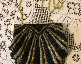 Vintage Black Silver Gold Beaded La Regale Gold Chain Embellished Ladies Clutch Evening Handbag Purse