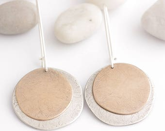 For The Sake Of Simplicity Silver and Bronze Earrings