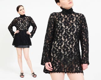 Frederick's of Hollywood Vintage 80s 90s Black Floral Lace Top   Sheer Lace Tunic Top   Long Sleeve Victorian Goth Blouse   Small - Large