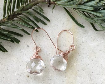 Crystal Quartz, Rose Gold Filled, Dangle Earrings, Natures Splendour, White and Gold, Wedding Earrings