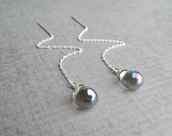 Gunmetal Gray Threaders, Chain Earrings Gray, Lampwork Earrings, Lampwork Glass Threaders Grey, Sterling Silver Threaders, Silver Chain