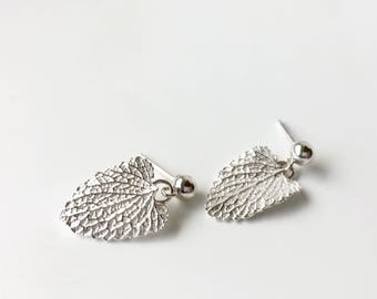 Silver leaf earrings, sterling silver studs with dangles, peppermint leaf jewelry, gardeners gift, gift for her