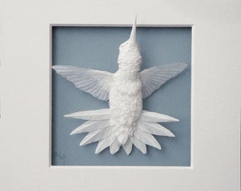 Paper Hummingbird Sculpture Art Starburst Ready to Ship