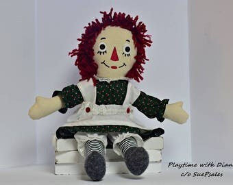 Raggedy Ann Doll, Handmade, Rag Doll, Cloth Doll, Fabric Doll, Soft Doll, Dolls and Miniatures, Art Doll, Nursery Decor, Collectors Doll