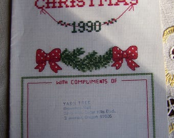 Vintage Merry Christmas 1990 Cross Stitch Pattern Promotional Booklet by Gloria & Pat