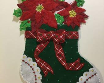 "Bucilla Completed Felt 18""  CHRISTMAS POINSETTIA Stocking"
