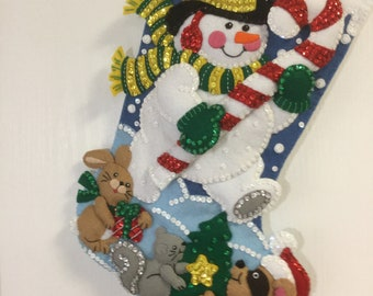 """Bucilla Completed Felt 18"""" IN THE SPIRIT Christmas Stocking"""