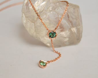 Rose Gold Necklace, Tourmaline Y Necklace, Rose Gold Y Necklace, Gemstone Necklace, Green Gemstone Necklace, October Birthstone Necklace