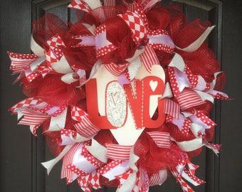 Glitter heart LOVE red white deco mesh wreath
