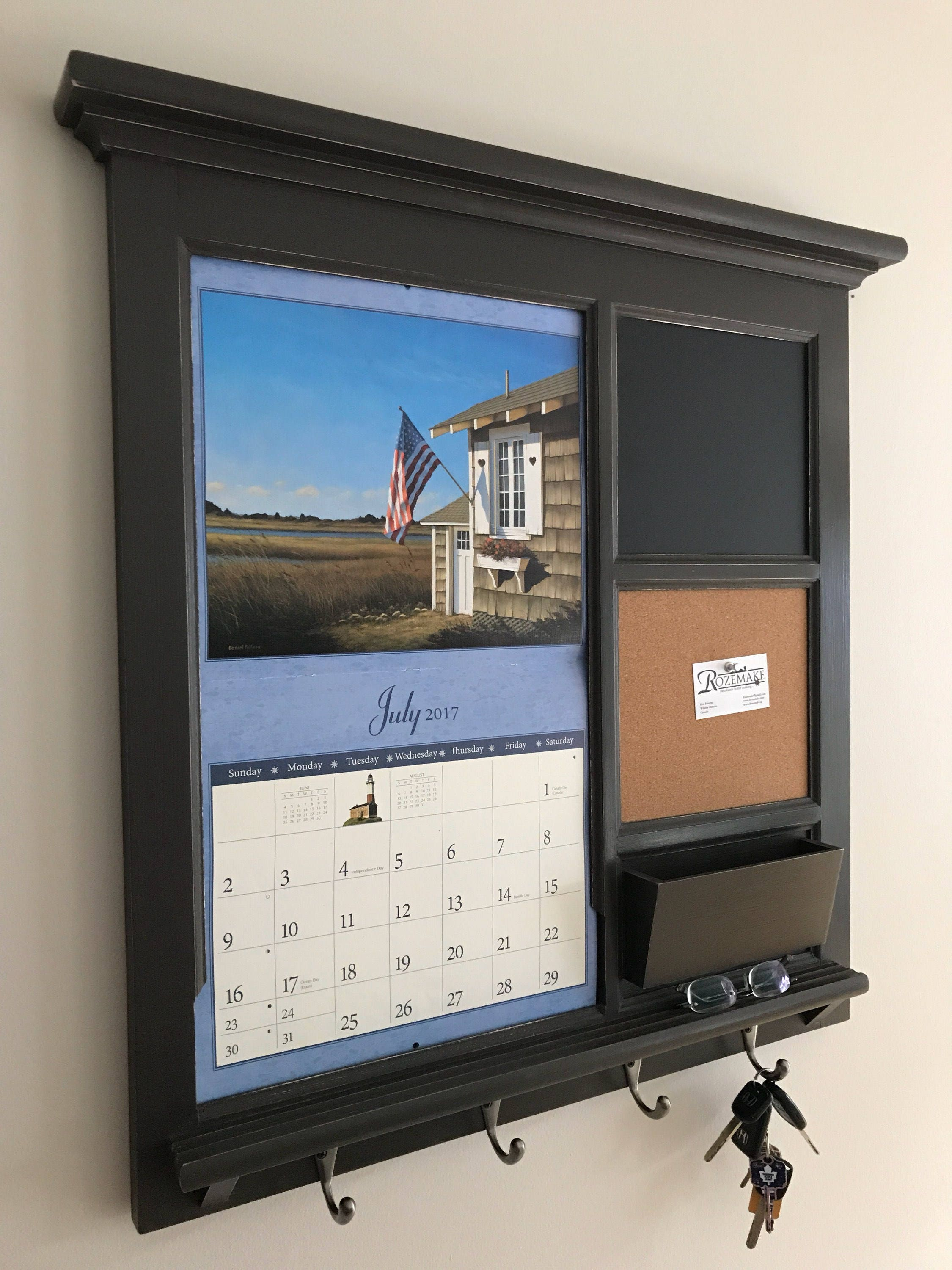 Home Decor Wall Calendar Front Loading Mail Organizer Family
