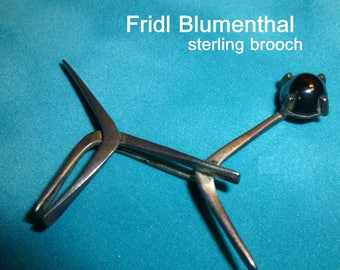 """Fridl Blumenthal Modernist Sterling Brooch. Mid Mod Boomerang Cat Pin. About 2.5"""" long. Signed Modernist Jewelry. Circa 1960s"""