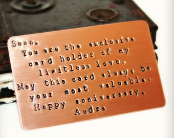 Custom Wallet Card Insert, Copper Anniversary Gift, BRUSHED MATTE FINISH, Hand Stamped, Valentine's, Love, Wedding,  Personalized Gift