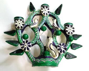 vintage MEXICAN FOLK ART candelabra sculpture,3 birds,green,dark purple,black, white,Tree of Life,ceramic candle holder,complete