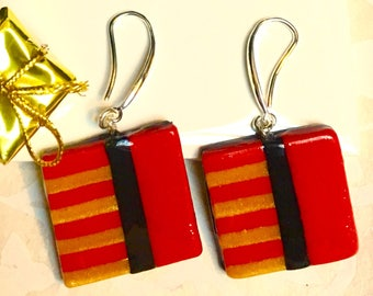 Red Squared Earrings