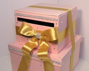 Wedding Card Box Blush Pink and Gold ,Gift Card Box Money Box  Holder Sweet 16--Customize your color