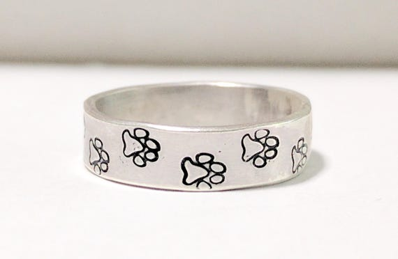 Paw Print Ring, Sterling Silver, Custom Sized, Pet Lover Jewelry, Dog Lover Ring, Cat Lover Jewelry, Pet Parents