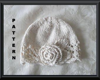 Baby Hat Pattern Knitted Hat Pattern Newborn Baby Hat Infant Baby Hat Infant Hat Pattern Flower Hat Pattern: ESSENTIALLY IVORY