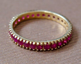 14K GOLD MEXICO Artisan  Made Natural Rubies Eternity Band Size 6.75 7 Vintage Ring