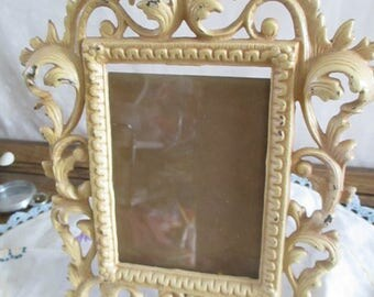Picture Frames Ornate Heavy Metal 5 x 3 3/4, glass Free Standing
