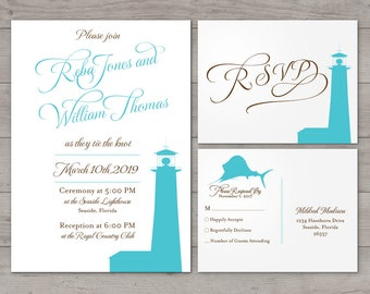 Printable Lighthouse Wedding Invitation Custom Choose Fonts and Colors Party Birthday Shower Travel