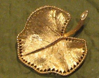 Vintage Signed BSK Golden Etched Leaf Pin Brooch 5756 Gift Box Free Shipping