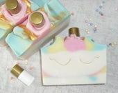 Unicorn Soap Unicorn Gift Set Gift for Girls / Soap and lip gloss / Cold Process Handmade Soap NEW
