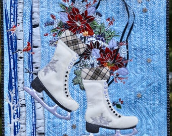 MarveLes PDF Download Pattern CHRISTMAS SKATES Winter Ice Art Quilt Wall Hanging White Wool PoinsettiaHome Decor Decor