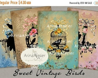 SALE 30%OFF - CARDS Sweet Vintage Birds - Digital Collage Sheet - Instant Download - Vintage Collage - Digital Collage Tags - greeting cards
