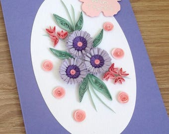 Handmade quilled thank you card with quilling flowers