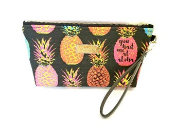 You Had Me At Aloha - Medium Clutch with brass zipper and leather strap - 11x 5 x 2