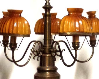 Vintage Hanging Lamp with Amber Shades, 5 arm gas style chandelier