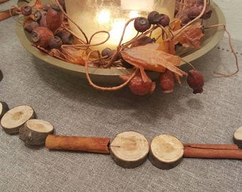 Wood and Cinnamon Stick Garland - Christmas Garland Fall Winter Natural Decor Wood Disc Garland Wood Slice