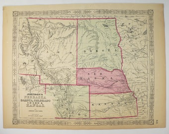 Old Dakota Map Nebraska Colorado Map Idaho Kansas Map 1864 Johnson Map Western Us Map