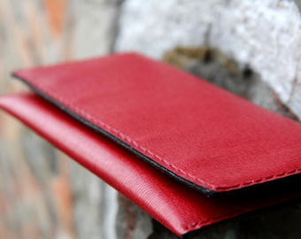 """Womens leather wallet - """"Red Saffiano """""""