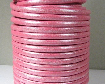 Metallic Pink European 5mm Round Leather - Choose Your Length
