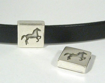 25% Off Horse Head Sliders for 10mm Flat Leather - Antique Silver - 10F-FSL201 - Choose Your Quantity