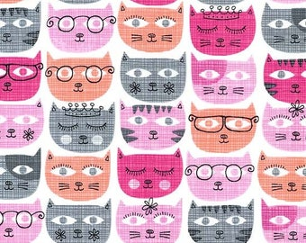 1 yard - Sasy cats in pink, Michael Miller Fabrics