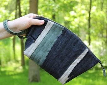 Denim Wristlet, Recycled Denim Clutch, Black, Green, Khaki Jeans Clutch