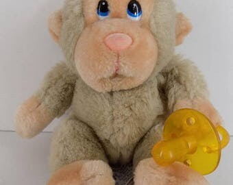 """SALE Russ  Monkey Vintage 1980's Baby Chee Chee with Pacifier 8"""" Plush Stuffed Animal"""