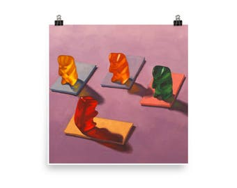 Yoga Gummy - Art print from original painting, whimsical, kitschy, fun, realism, narrative, cute, candy, humor, yogi, spiritual, meditation