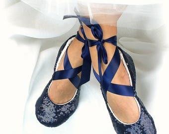 Blue Flats Sequin Navy Blue Wedding Flats, Custom Ballet Flats With Ribbon Ties