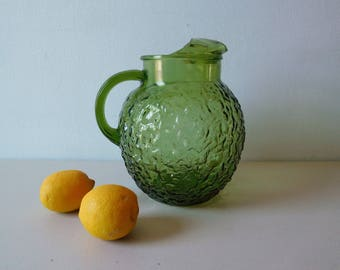 Vintage 1960s bumpy pitcher Green glass pitcher