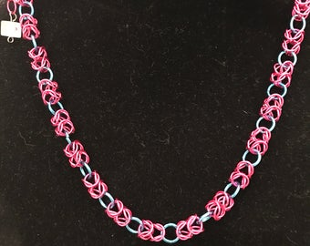 Necklace, chain maille, pink and blue