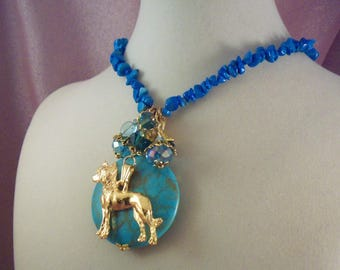 CHINESE CRESTED-Dog - ag2- hairless -  Free Shipping - Charm Necklace - Jewelry - Handmade by USA Artisan - Last One