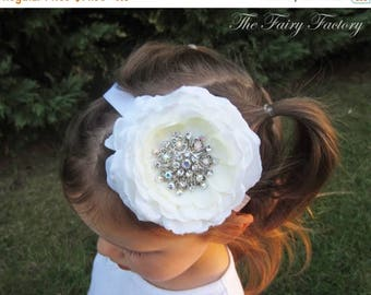 White Flower Headband, Lush Silk Flower w/ Jumbo Rhinestone Center Headband or Clip, Baptism, Christening, Baby Child Girls Headband