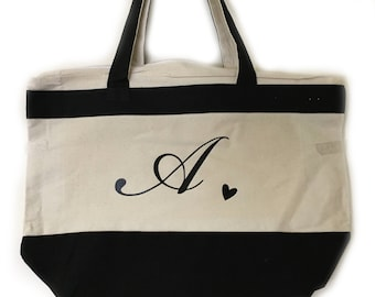 Initial Tote Gift For Her Wedding Gift Bridesmaid Tote Accessory Gift From Him Grocery Purse Bag