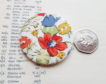 Handmade Liberty London Fabric Lapel Pin - Liberty Fabric Pinback Button - Floral - Simple Chic Accessory - Classic Chic - Simply Style