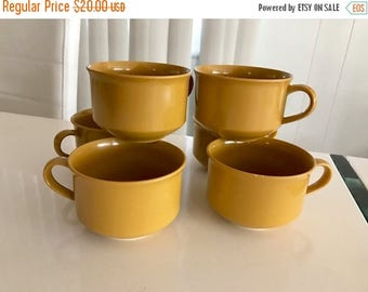 40% OFF Christmas in July Vintage Mid Century Era Set of 6 Melmac Cups in Mustard Color -- Retro Home