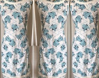 Oodles of Poodles Vintage Novelty Print Atomic Poodle Cotton Dress -- Size L - XL